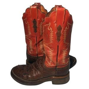 LUCCHESE Red Brown Leather Cowgirl Boots Size 6.5